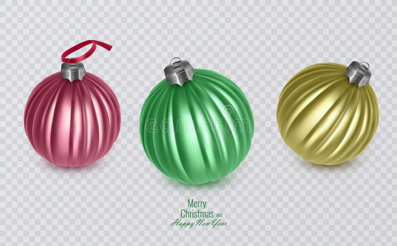 Colorful christmas balls on transparent background, vector christmas decorations stock illustration