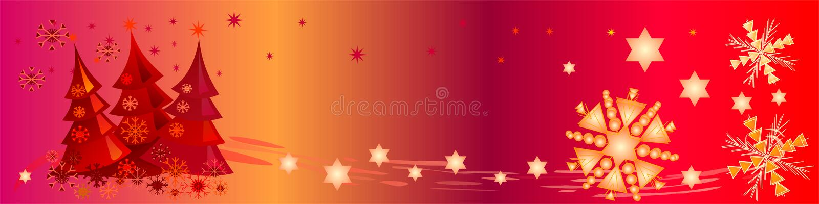 Colorful Christmas Banner. This header / banner shows decorative snowflakes, stars and cute little Christmas trees. Can be used as a background too royalty free illustration