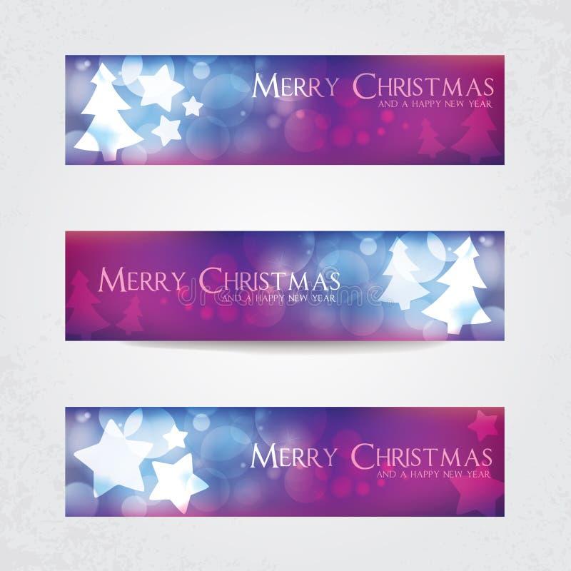 Colorful Christmas banners. With stars and Christmas tree