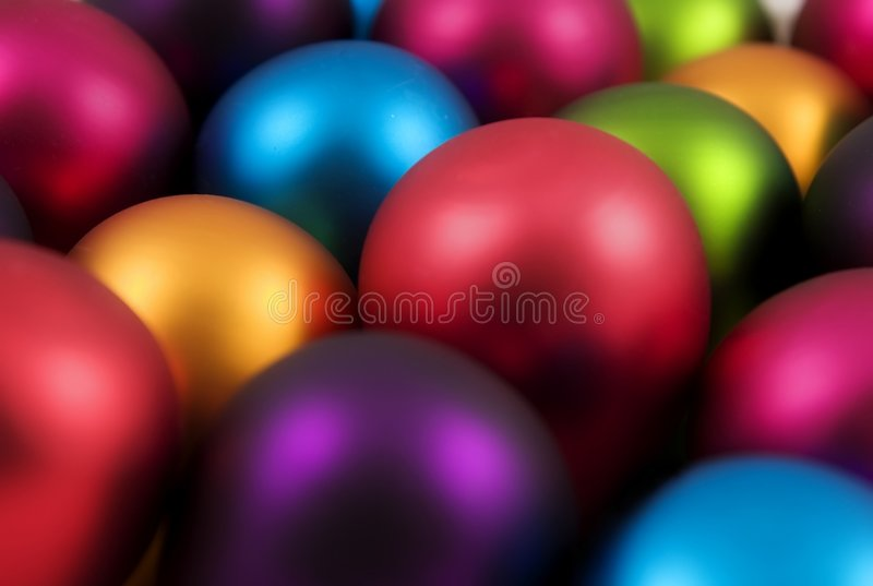 Colorful christmas baubles stock photos