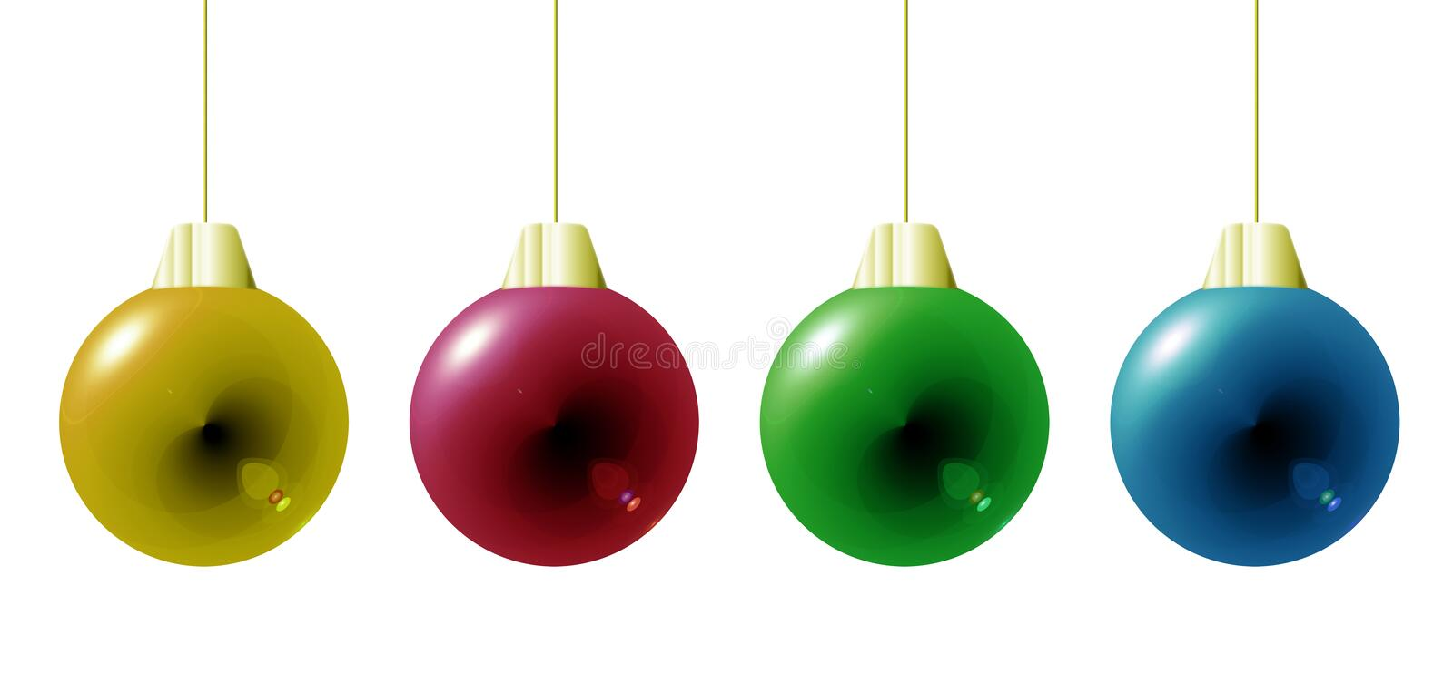 Colorful Christmas baubles. Close up of four colorful Christmas baubles, isolated on white background stock illustration