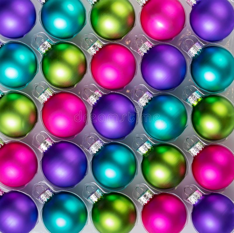 Colorful Christmas Balls Decoration Background stock photos