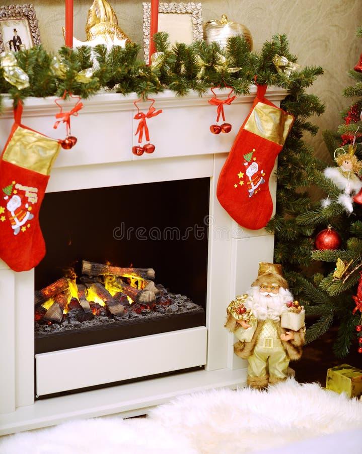 Christmas fireplace decoration royalty free stock photos