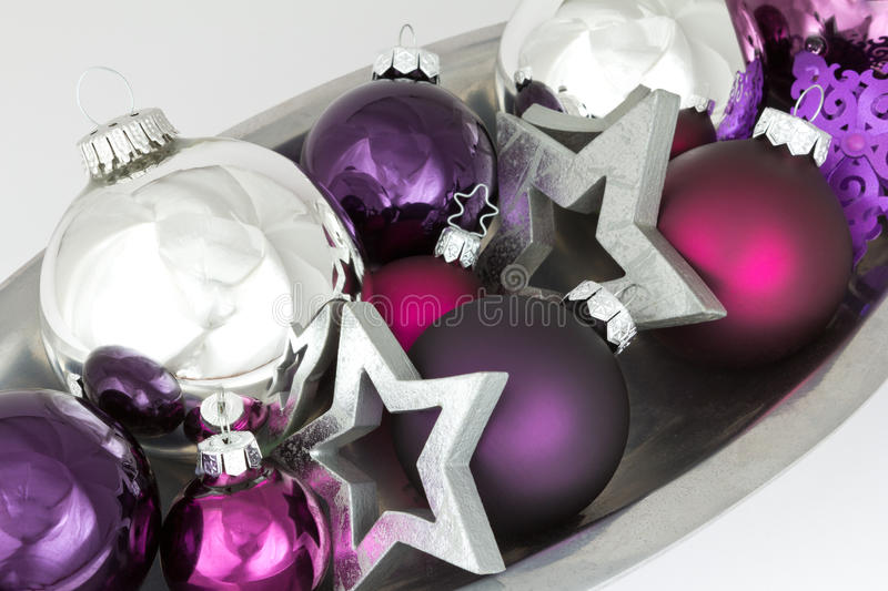 Purple Balls For Decoration Fascinating Colorful Christmas Decoration Silver Purple Stock Image  Image Of Review