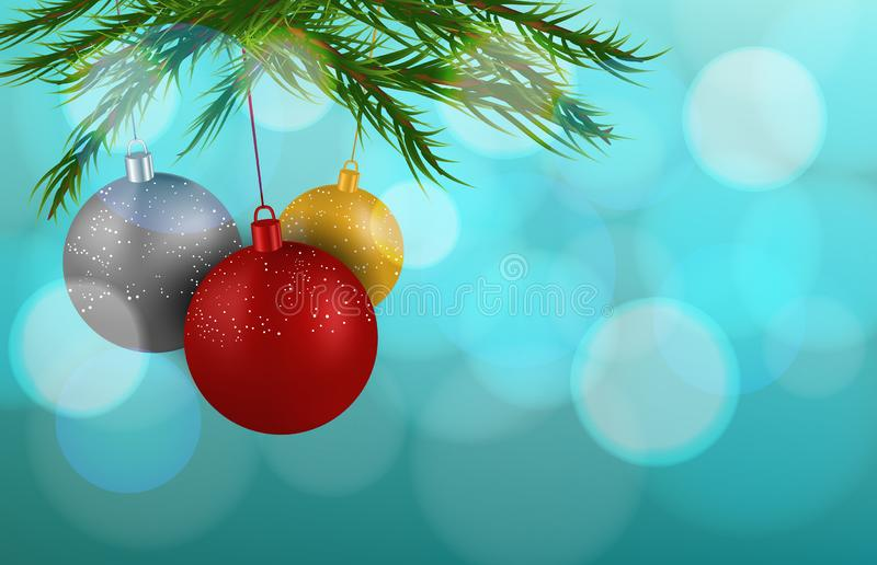 Christmas decorations ball with branch with blur background royalty free stock images
