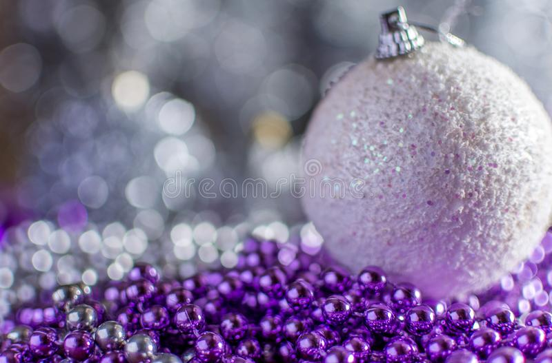 Colorful Christmas decorations with extreme shallow depth of field and colorful creamy bokeh. Art stock photography