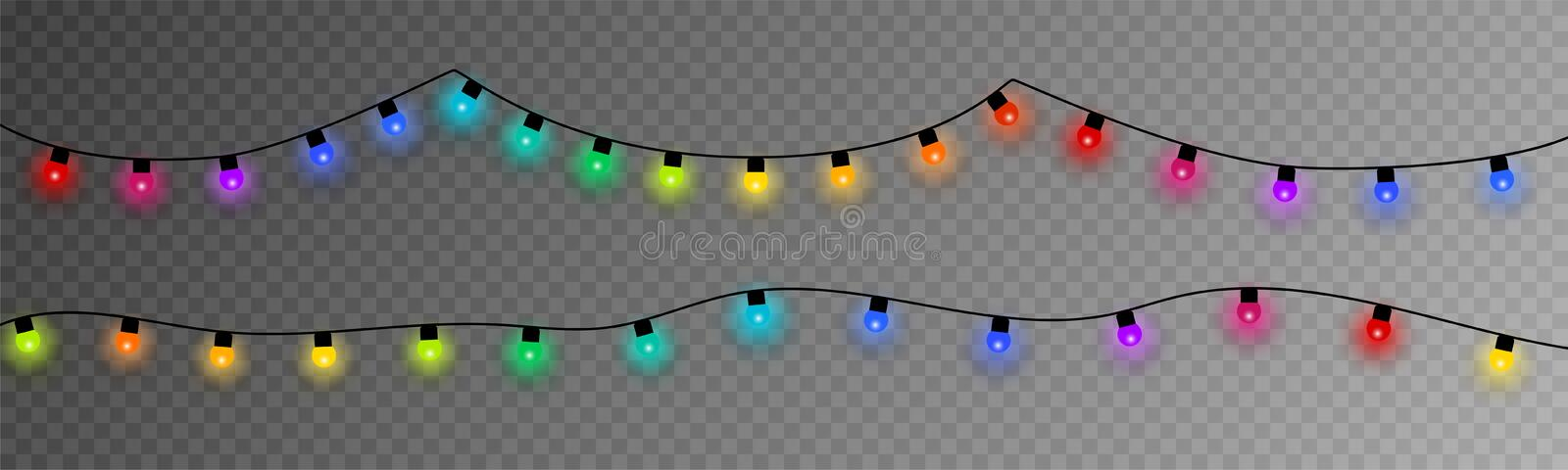 Colorful Christmas Lights. Eps10. Colorful Christmas Lights. Christmas light on transparent background. Vector illustration royalty free illustration