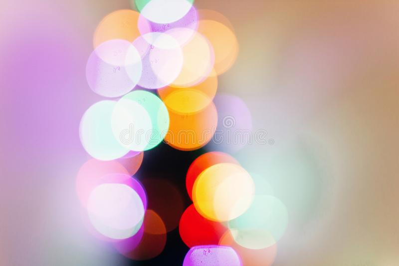 Colorful christmas lights. bright bokeh. magical time. space for royalty free stock photography