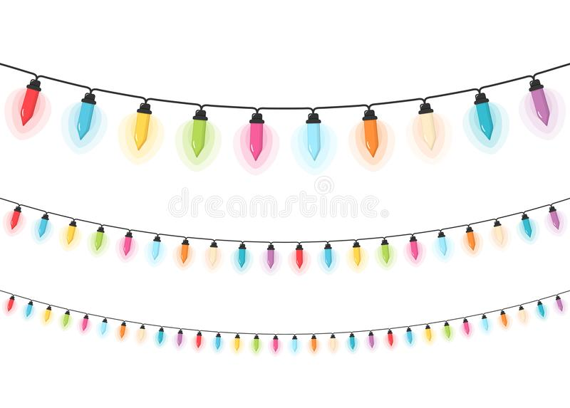 Christmas Lights. Colorful Christmas lights, white background stock illustration