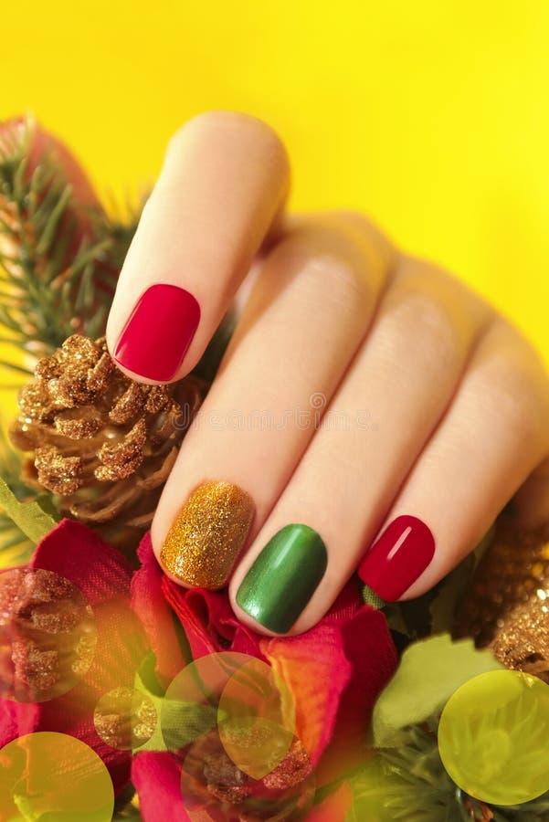 Colorful Christmas Nails Winter Nail Designs . Stock Image - Image ...