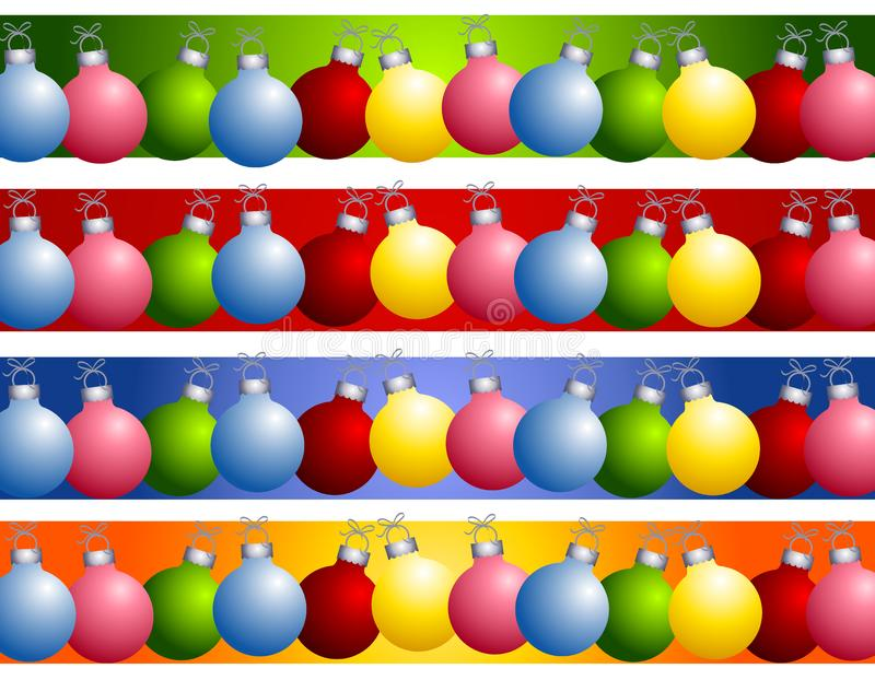 Colorful Christmas Ornament Borders stock image