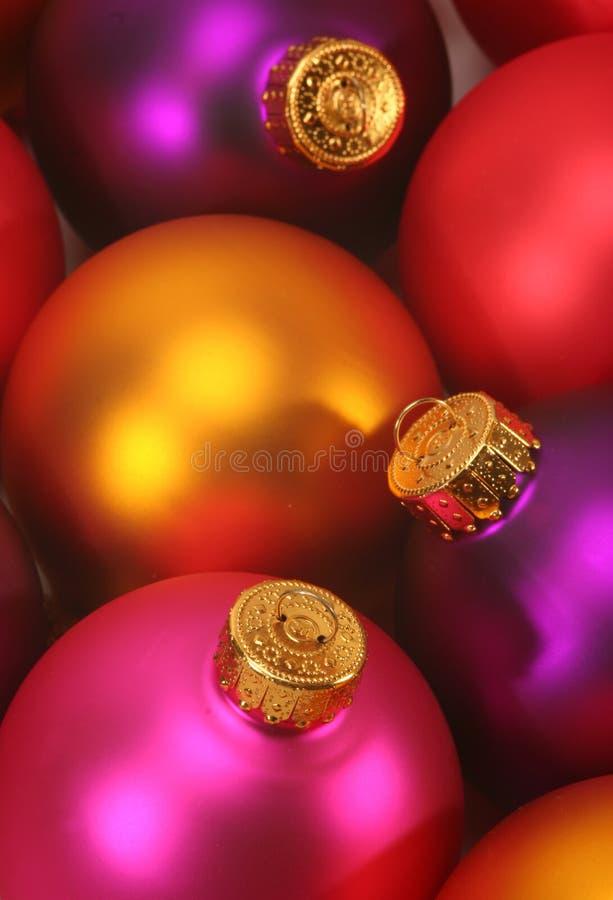 Colorful christmas ornaments stock photos