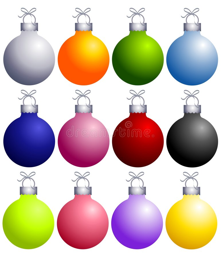 Colorful Christmas Ornaments Collection vector illustration