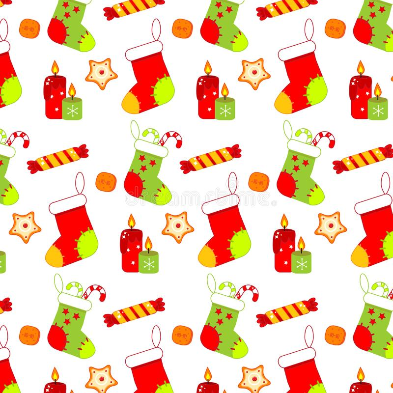 Colorful Christmas pattern with socks, sweets and candels. New year background royalty free illustration