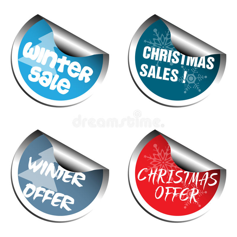 Colorful Christmas stickers. Four Christmas sale stickers isolated on white background royalty free illustration