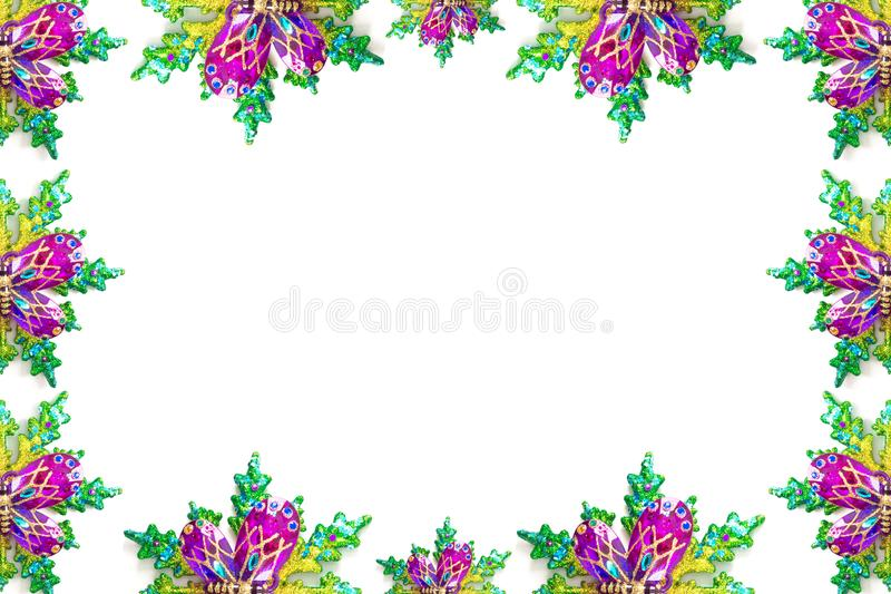 Colorful Christmas theme border or frame. plant and butterfly shape in white background stock illustration
