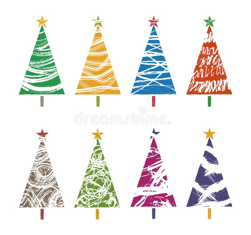 Colorful Christmas tree collections, graphic elements royalty free illustration