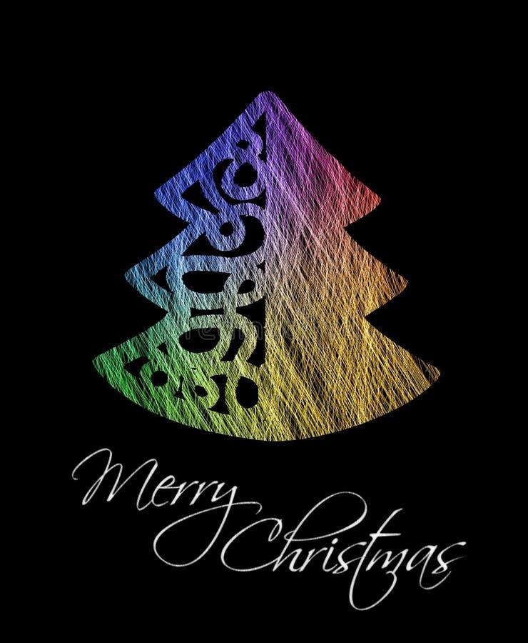 Colorful Christmas Tree Greeting Card Royalty Free Stock Photos