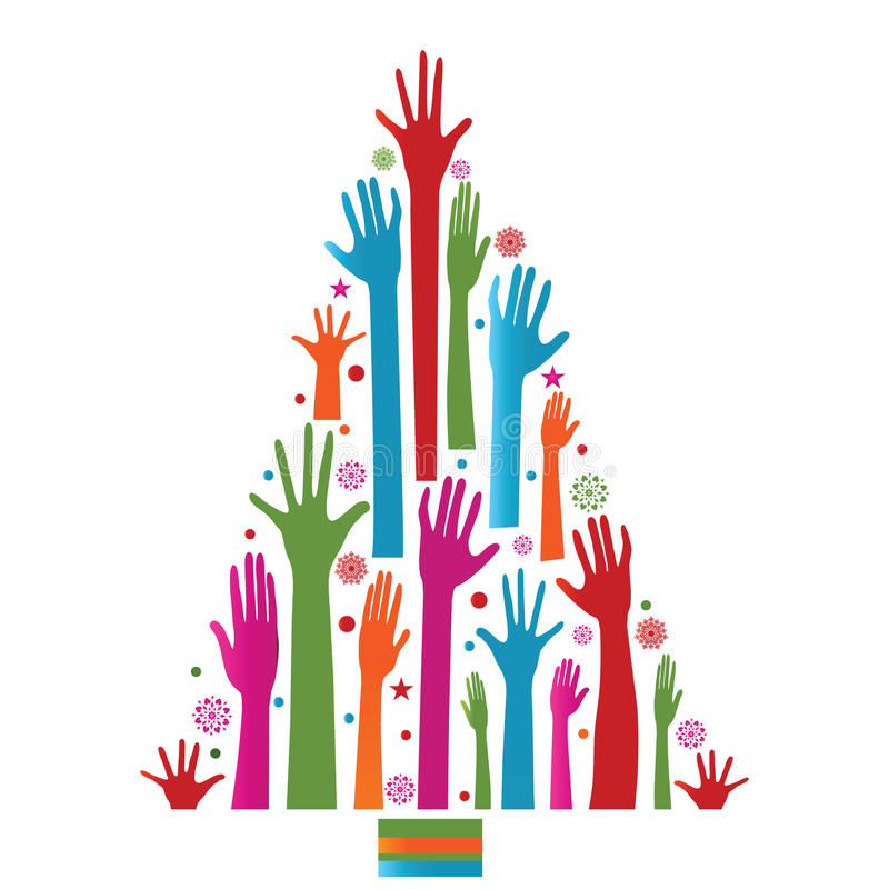Colorful christmas tree of hands. Snowflakes, circles and stars royalty free illustration