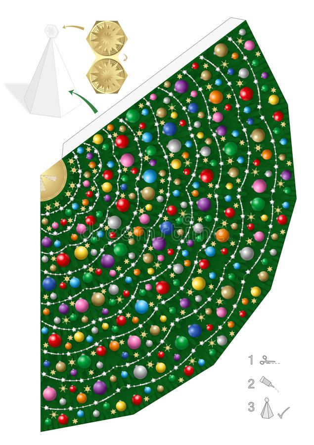 Colorful Christmas Tree Template Paper Model. Colorful christmas tree paper model. Creative fun for kindergarten, school or private handicraft lessons - simple royalty free illustration