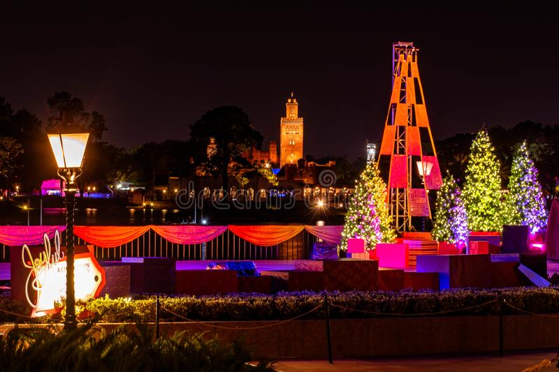 Colorful Christmas trees and african tower in Morocco Pavillion at Epcot 3. Orlando, Florida. November 29, 2019. Colorful Christmas trees and african tower in royalty free stock images