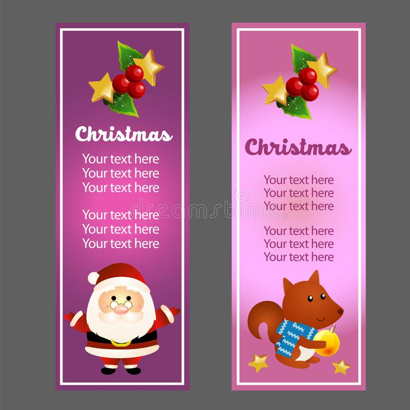 Colorful christmas vertical banner with santa and squirrel vector illustration