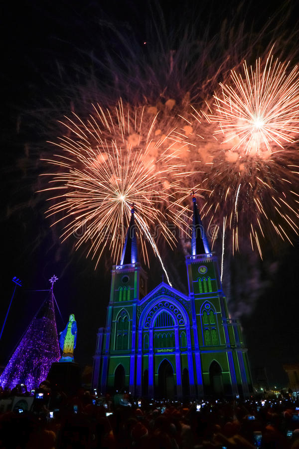 Free Colorful Church And Virgin Mary With Firework In The Christmas N Royalty Free Stock Image - 84731986