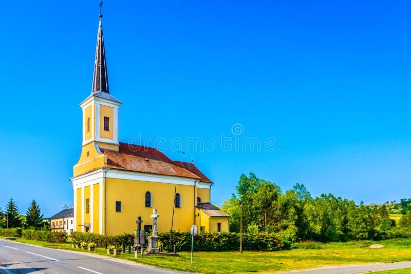 Colorful church in Croatia, Zagorje landscape. Scenic view at colorful nature and architecture in Zagorje region, Croatia royalty free stock image