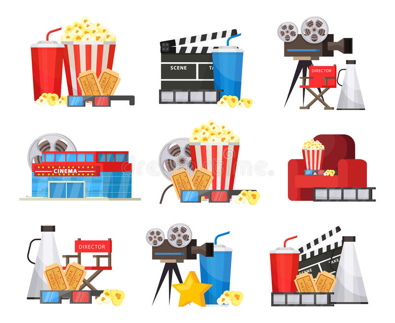 Colorful Cinema Elements Set vector illustration