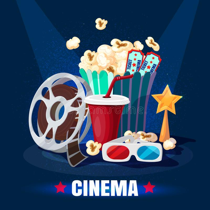 Colorful Cinematography Template. With popcorn soda 3D glasses film reel tickets movie golden star award vector illustration vector illustration