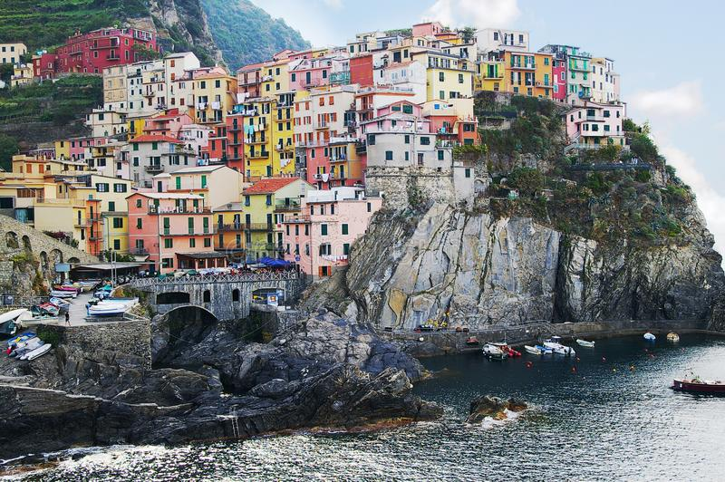 Colorful Cinque Terre Italy houses royalty free stock photos