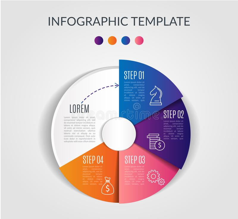 Colorful circle chart infographic template with 4 options for presentations, advertising, layouts, annual reports stock illustration