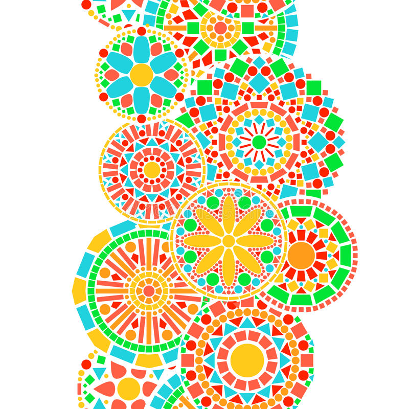 Colorful circle floral mandala border in green and orange on white seamless pattern, vector stock illustration