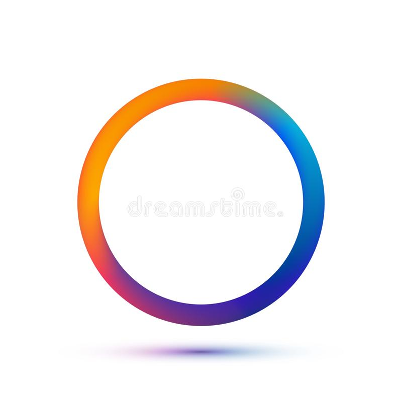 Colorful circle logo template. Vector abstract ring with empty space. Colors of run on metal eps 10. Isolated technology circular stock illustration