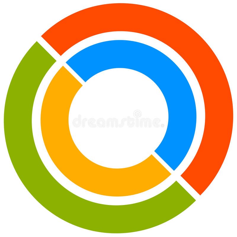 Colorful circle motif with two-part circles. Generic circular icon. Vector illustration. stock illustration