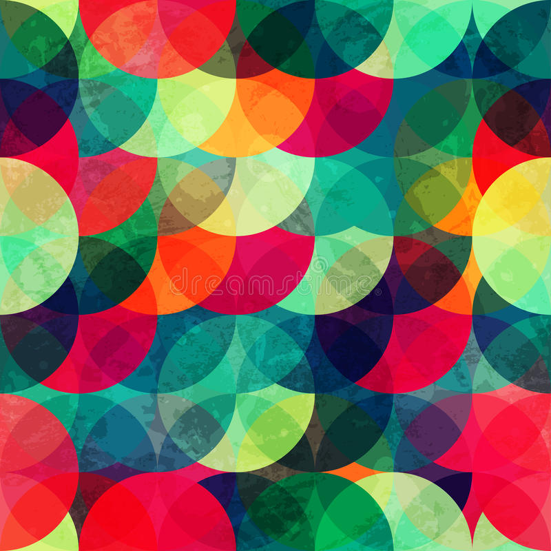 Colorful circle seamless pattern with grunge effect stock illustration
