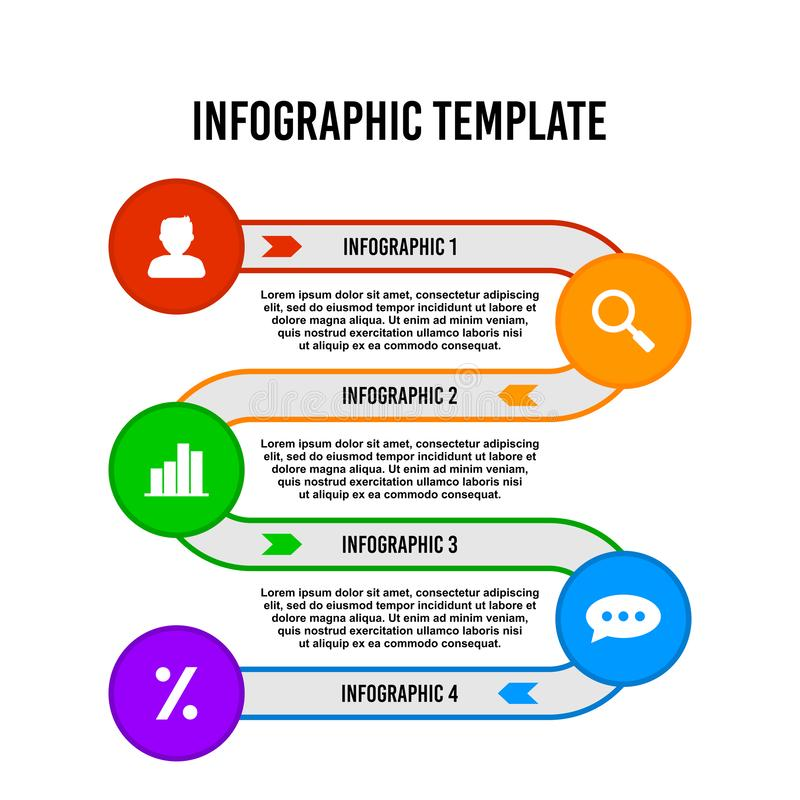 Colorful circle step flow infographic design template. royalty free illustration
