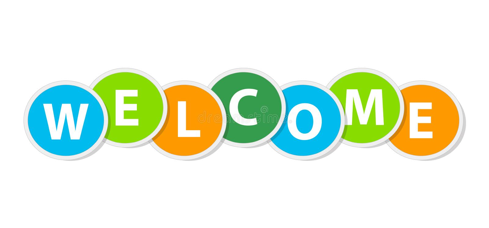 Colorful Circle Welcome Text. Background vector illustration