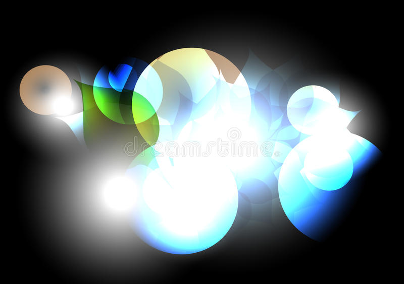 Colorful circles on black abstract background stock illustration