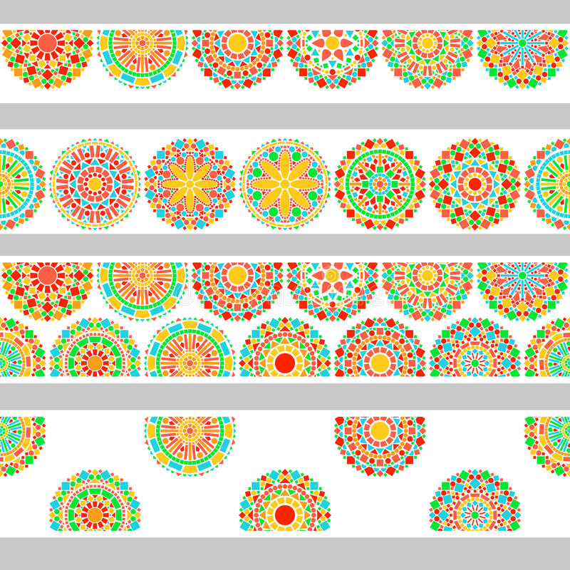 Colorful circles floral mandala in green and orange on white seamless border, vector. Background stock illustration