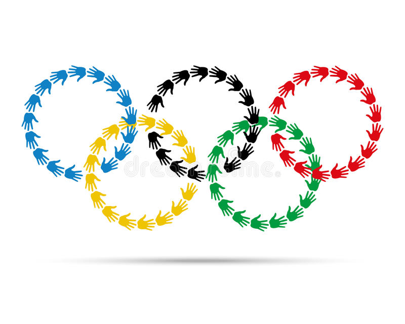 Colorful circles olympic emblem made with hand prints. royalty free illustration