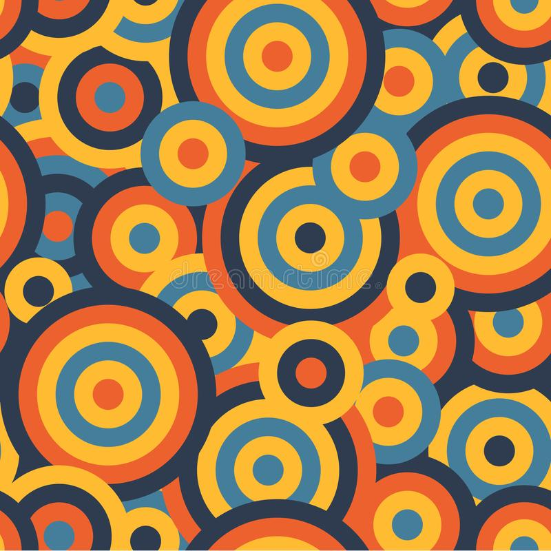 Colorful circles seamless repetitive vector pattern texture background stock illustration
