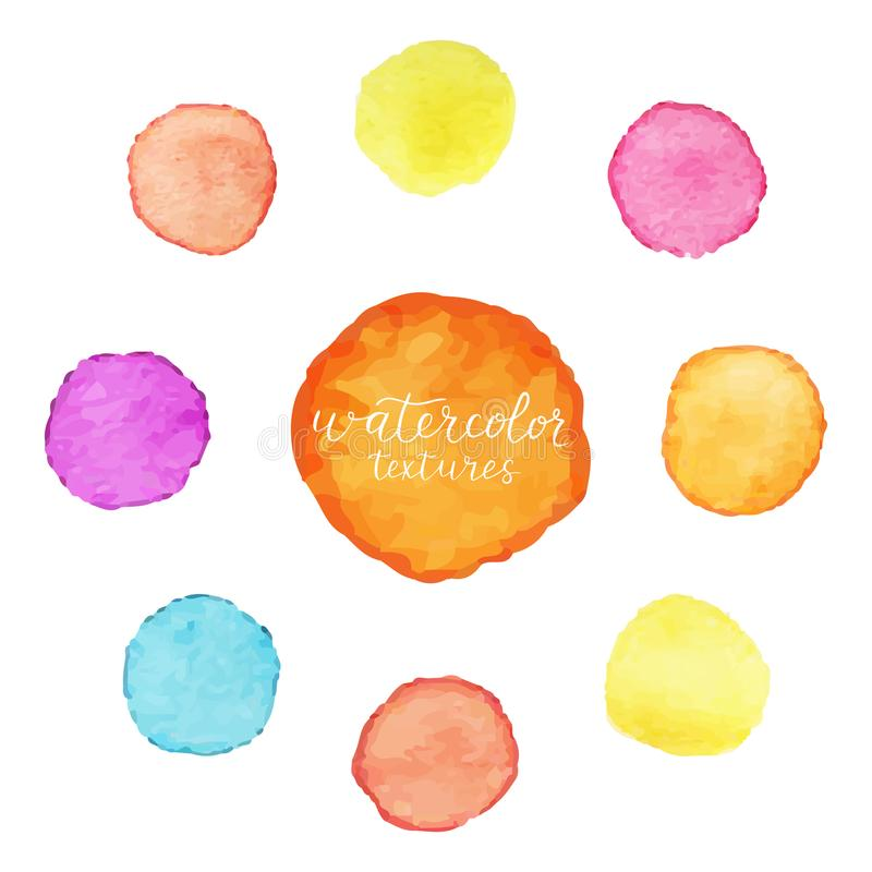 Colorful circles of watercolor paint. Set of watercolor stains on white background. Vector illustration vector illustration