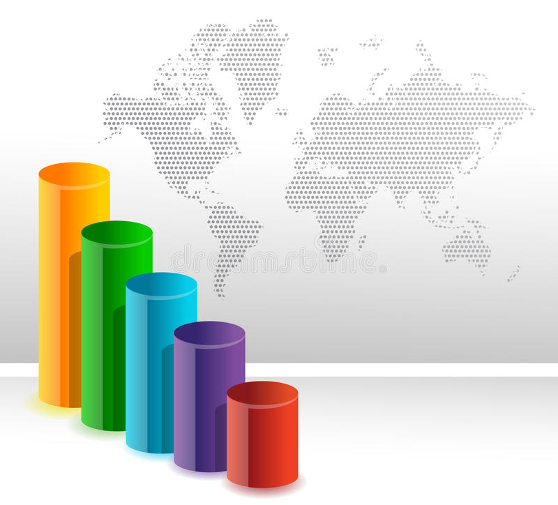 Colorful Circular Business Bar Graph Background Stock Images