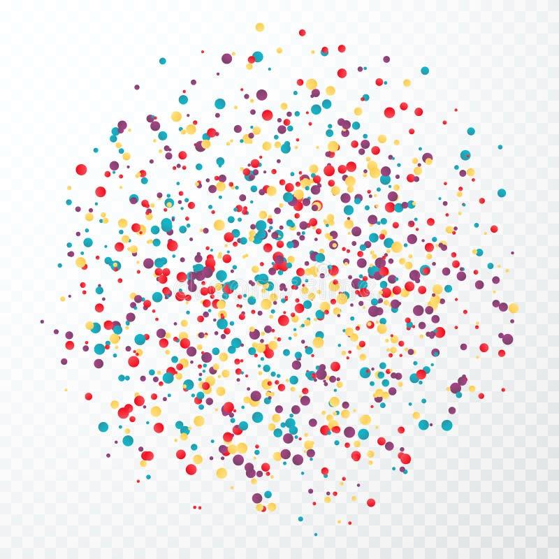 Colorful circular confetti splash. Vector illustration isolated on transparent background vector illustration