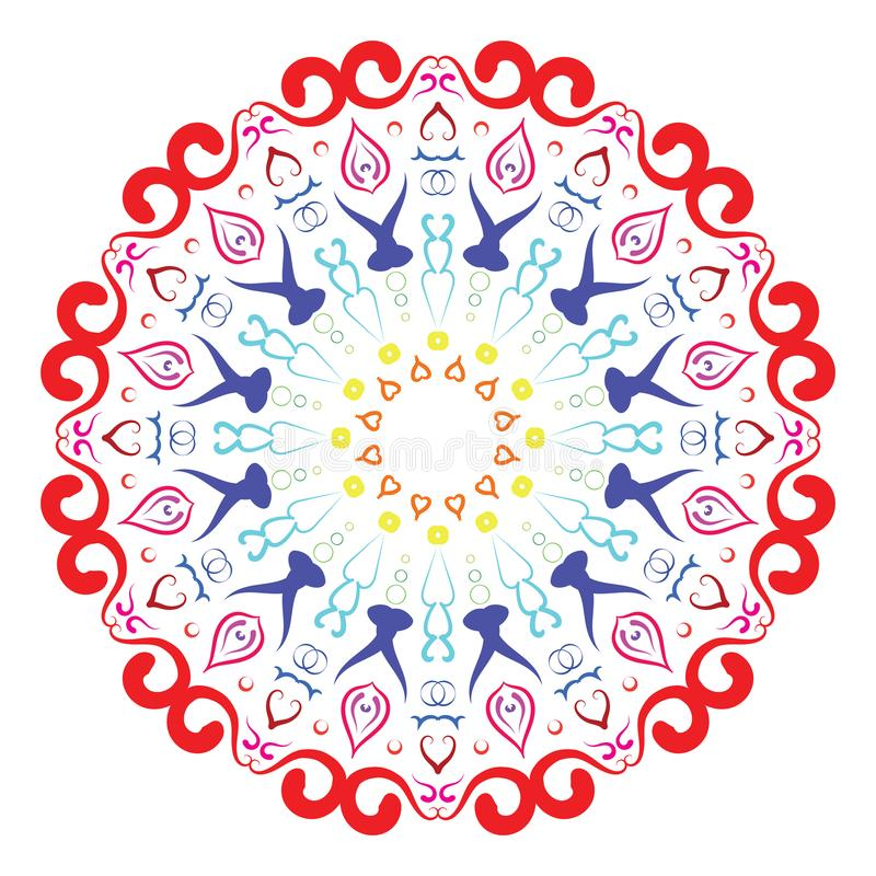 Colorful Circular pattern in form of mandala for Henna, Mehndi, tattoo, decoration. Decorative ornament in ethnic oriental style. royalty free illustration