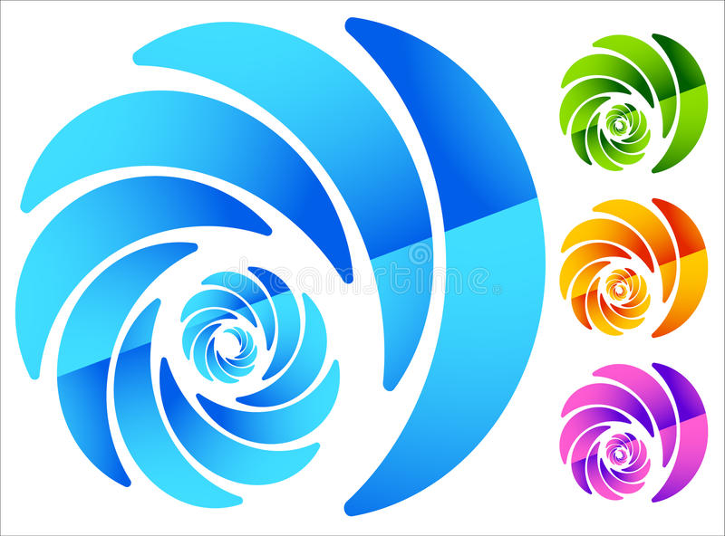 Colorful, circular spiral-like element in four vivid colors royalty free illustration