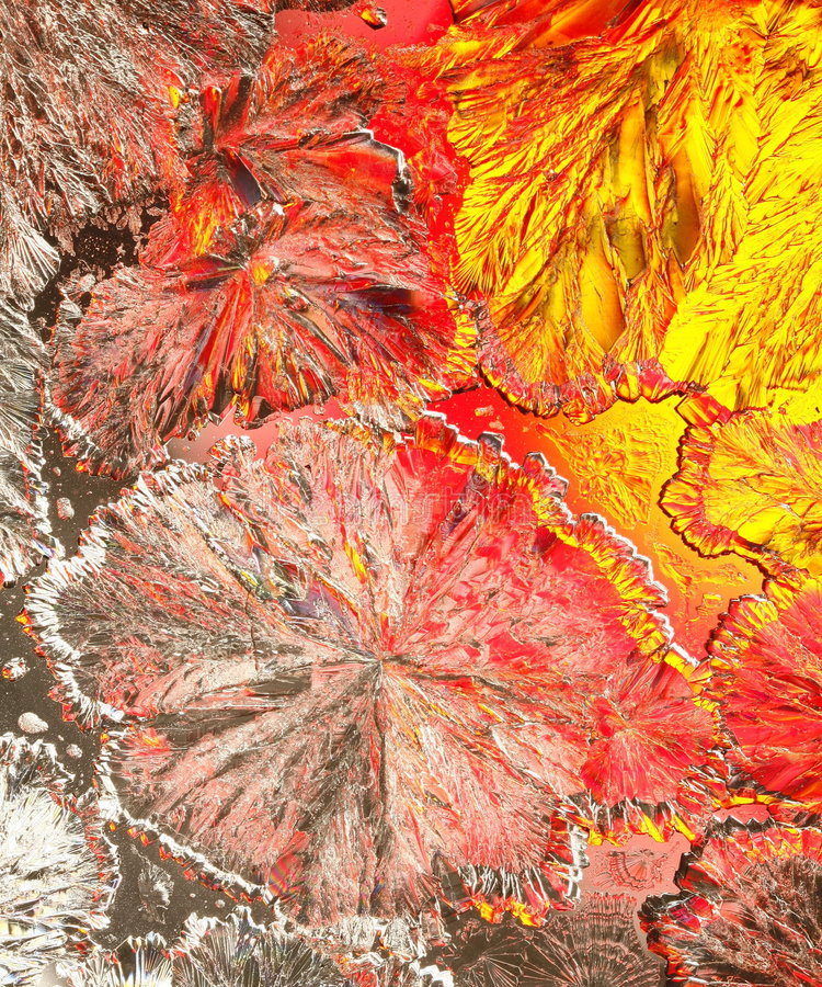 Colorful citric acid crystals stock image