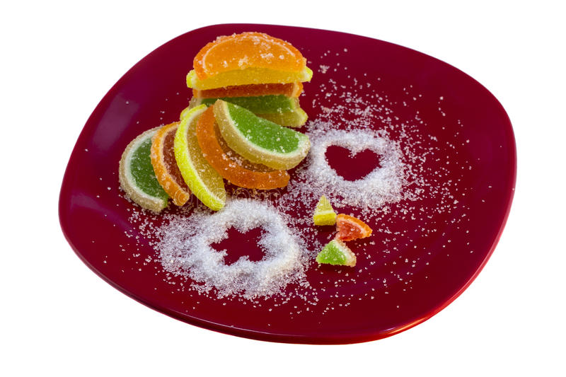Colorful citrus marmalade candies, isolate stock photography