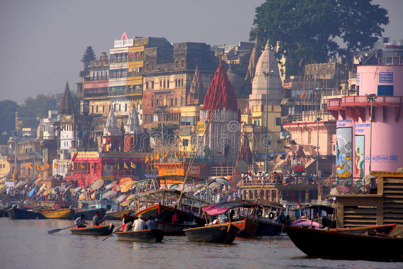 Colorful city. View of the colorful and holy Hindu city of Varanasi in India, with the Ganges river royalty free stock photo